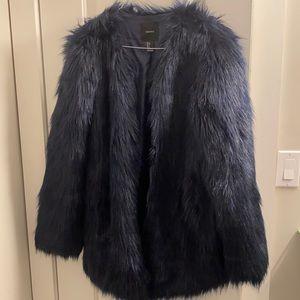 Forever21 Dark Blue Faux Fur Coat